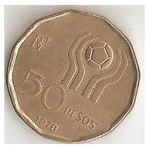 Moneda Argentina Mundial 78 50 Pesos Año 1978