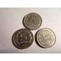 Argentina: Lote Monedas Acero Enchapado 5 Ctvs 1957/59