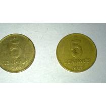 Dos Monedas De 5 Centavos Austral Argentinos De 1986/7 Puma