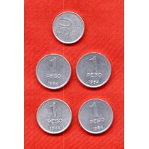 Lote De 5 Monedas 50 Centavos De 1983 Y 4 De 1 Peso De 1984