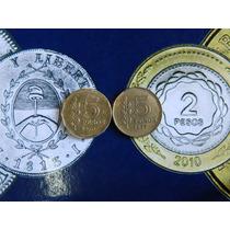 2 Monedas 5 Pesos Ley 1976 1977 Excelentes