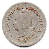 Moneda Argentina Muy Antigua 10 Ctvs.1897.hermosa.muy Escasa