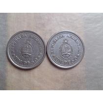 2 Monedas Argentina De 1 Pesos 1960 Muy Lindas!! ++