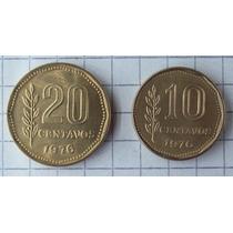 Argentina 10 Y 20 Centavos 1976 Flor De Cuño