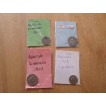 Lote 4 Monedas Argentinas Uruguay Antiguas Decada Del 30