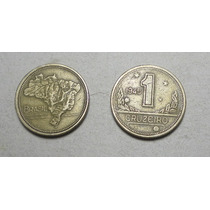 Lote De 2 Monedas De 1 Cruzeiro 1945 De Brasil