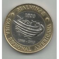 Argentina 2 Pesos Conmemorativos 12 Años Rec Islas Malvinas