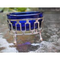 Alucinantes Saleros En Metal Y Cristal Azul Impecables