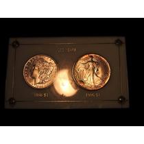 Set 2 Dolares Morgan Sin Circular Año 1886 Y 1986 C/estuche