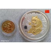 Mercorius- China Onza Panda Plata+ 1/10 De Oro Réplica 1991