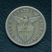 Moneda Filipinas 1918 S 50 Centavos Km#171 (plata)