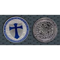 Orden Caballeros Templarios Mason Onza Bañada En Plata 24 Kt
