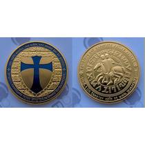 Orden Caballeros Templarios Mason Onza Bañada En Oro 24 Kt