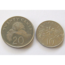 10 Cents 1993 Y 20 Cents 2006 De Singapur Excelente !