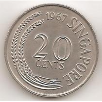 Singapur, 20 Cents, 1967. Sin Circular