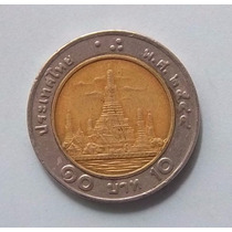 Tailandia 10 Bhat 2001 (2544) Bimetalica Y227 Muy Escasa