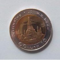Tailandia 10 Bhat 2015 Bimetalica Sin Circular Y459