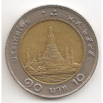 Tailandia, 10 Bath, 2002. Bimetalica. Xf+