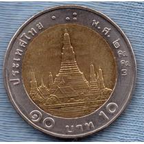 Tailandia 10 Baht 2010 Bimetalica * Templo Del Amanecer *