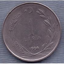 Turquia 1 Lira 1966 * Republica * Presidente Ataturk