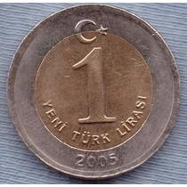 Turquia 1 New Lira 2005 Bimetalica * Ataturk *
