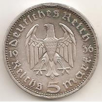 Alemania Tercer Reich, 5 Reichsmark, 1936 D. Plata. Vf