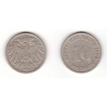 Alemania: Km #12 - 10 Pfennig - G (1899) Ebc- Níquel