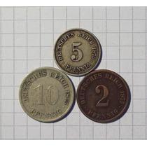 Alemania 2-5 Y 10 Pfennig 1875 Lote
