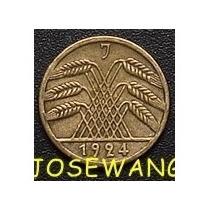 5 Reichspfennig, Moneda Antigua Alemana Del Año 1924