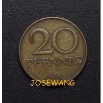 20 Pfennig, Moneda Antigua Alemana Del Año 1969