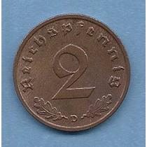 Alemania Nazi Moneda 2 Reichspfennig 1939 D - Km#90