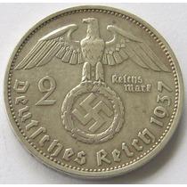 Moneda Plata Alemania Nazi 2 Reichsmark 1937 F Excelente !