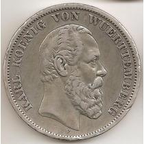 Wurttemberg, Alemania, 5 Mark, 1875 F. Plata. Vf