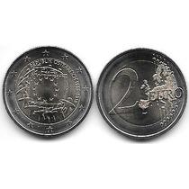 Moneda Austria Bimetalica 2 Euro Año 2015 Bandera Europa