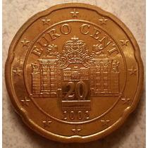 Moneda De Austria De 20 Centavod De Euro Año 2002 Km#3086