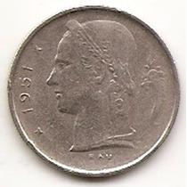 Moneda Belgica Belgie 1 Francos Año1951 Km#143.1