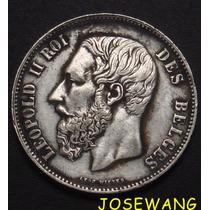 5 Francs. Moneda Antigua De Belgica Del Año 1868