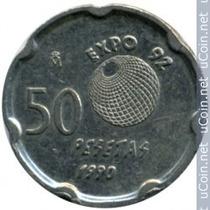 Lote De 1 Moneda De España, 50pesetas, J - Expo 92 Año 1990