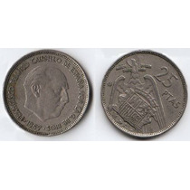España, Moneda 25 Pesetas De Cuproniquel, 1957 (58)--