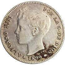 Chinacoins / España Alfonso X||| 1 Peseta 1889 Km#706 Plata