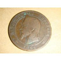 Moneda De Francia Napoleon Iii 10 Centimos Año 1861 K