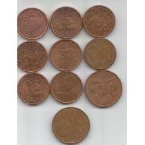 Francia Lote De 10 Monedas De 1 Y 2 Centavos De Euro