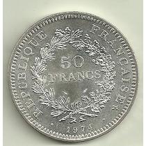 Moneda Francia 50 Francos Plata Año 1974 Tamaño Grande Nueva