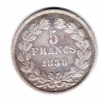 Moneda Francia Plata Año 1838 W Rey Luis Felipe I Muy Buena