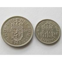 Set De 6 Pence 1948 Y 1 Shilling 1954 De Gran Bretaña !