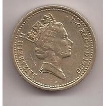 Gran Bretaña Moneda De 1 Pound Año 1990 !!