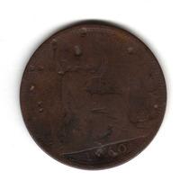 Moneda Inglaterra Gran Bretaña 1 Penny 1860 Km#749 Cobre
