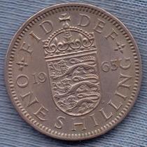 Inglaterra 1 Shilling 1965 * Escudo Ingles * Elizabeth Ii *