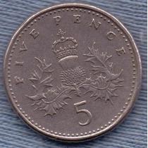 Inglaterra 5 Pence 1991 * Elizabeth Ii *