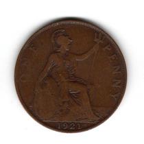Moneda Inglaterra Gran Bretaña 1 Penny 1921 Km#810 Cobre